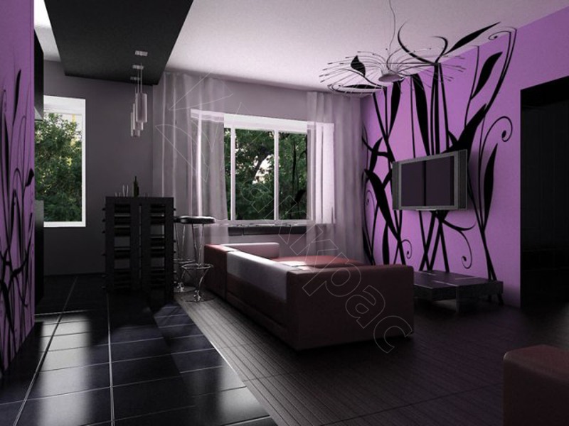 Дизайны гостиной с фото в сиреневом цвете 503